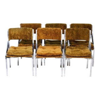 Chrome Dining Chairs with Gold Upholstery - Set of 6