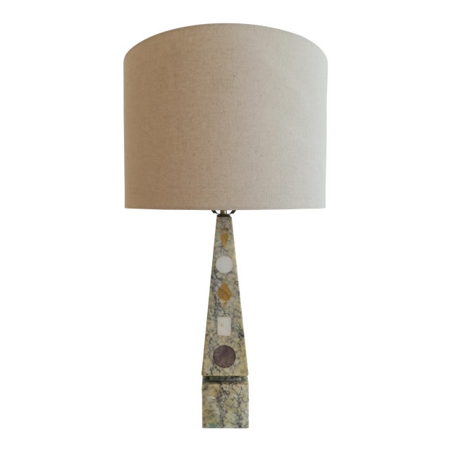 Vintage Stone Inlay Table Lamp - Image 1 of 6