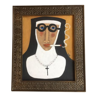 """Smoking Nun"" Contemporary Folk Painting"