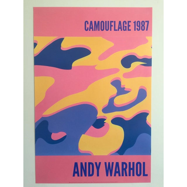 """Andy Warhol Original Lithograph Pop Art Poster """"Pink Camouflage"""" 1987 - Image 2 of 10"""