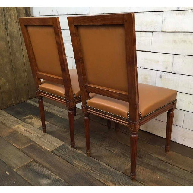 Antique Louis XVI Leather Upholstered French Country Chairs - A Pair - Image 7 of 11