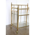 Image of Three-Tier Brass and Glass Bar Cart, Tea Trolley &/or Service Cart