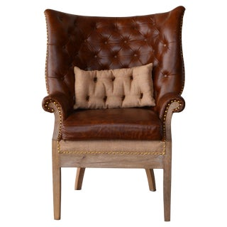 Huntley Wing Back Leather Chair