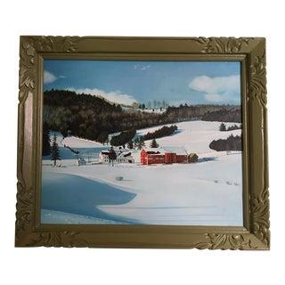 Vintage Farm Scene in Winter Framed Painting