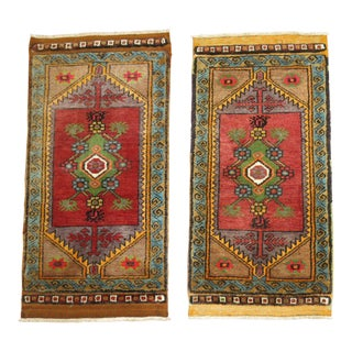 Hand Knotted Turkish Yastik Rugs - A Pair