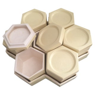 1970's Ceramic Hexagon Box Set