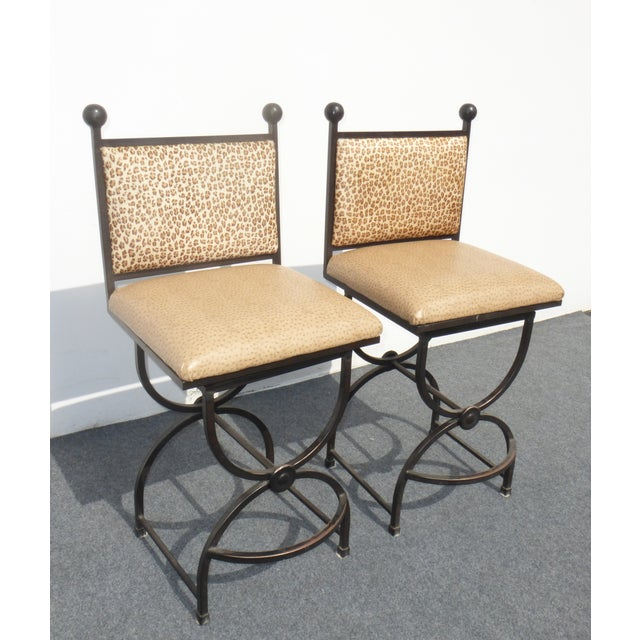 Wrought Iron Swivel Bar Stools - A Pair - Image 2 of 9
