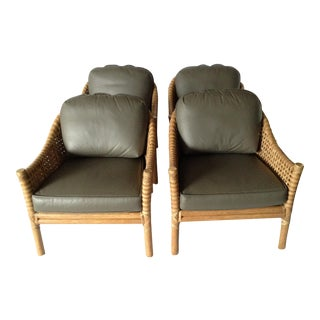 McGuire Lm-61 Laced Rawhide Lounge Chairs - Set of 4
