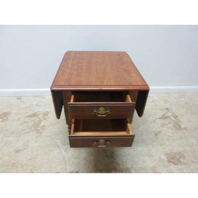 Ethan Allen Heirloom Formica Top Drop Leaf Nutmeg End Table - Image 10 of 11