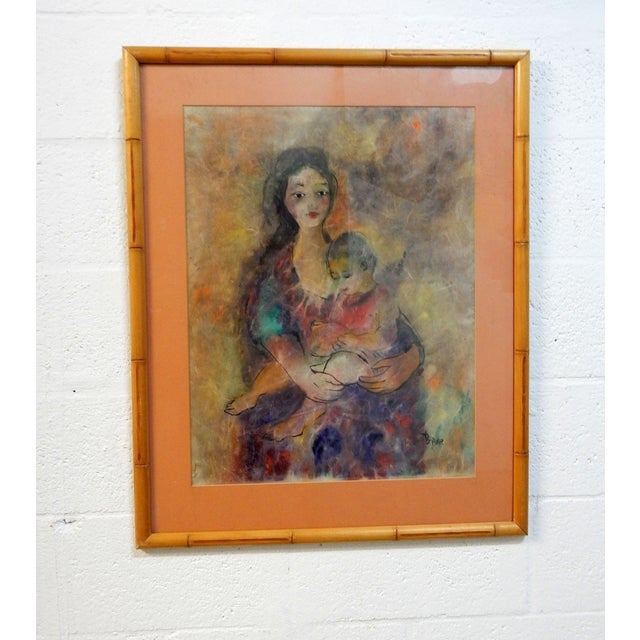 Mother with Child Painting with Bamboo Frame - Image 4 of 7