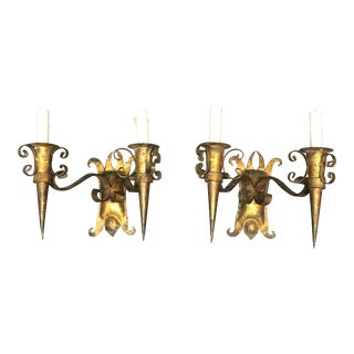 2-Light Gold Finish Metal Wall Sconces - A Pair