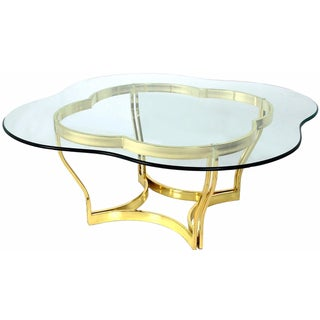 1970s Clover-Shape Glass Coffee Table