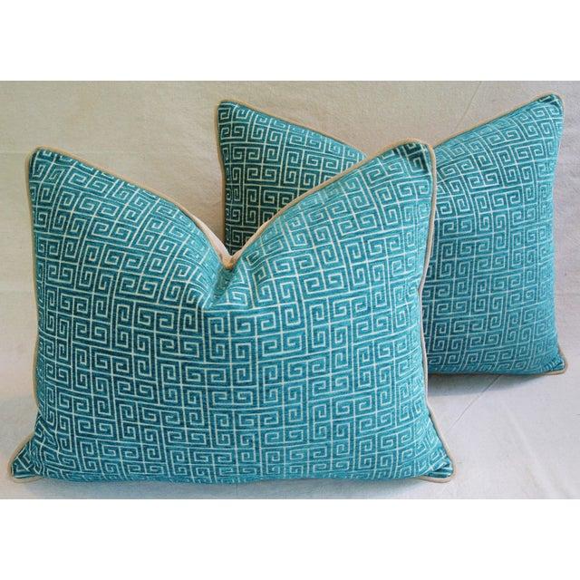 Designer Turquoise Greek Key Velvet Pillows - Pair - Image 3 of 8