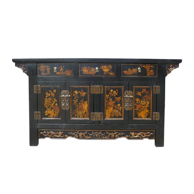 Vintage Golden Graphic Low Console Table - Image 1 of 8