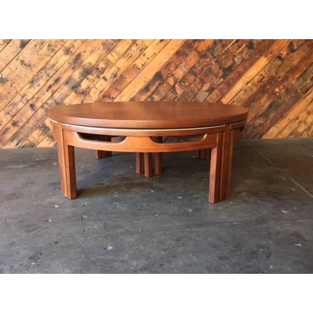 hidden seating walnut coffee table chairish