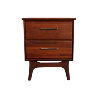 Ace-Hi Mid-Century Modern Walnut Two-Drawer Nightstand