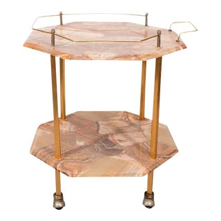 Mid-Century Two-Tiered Agate Cocktail Cart