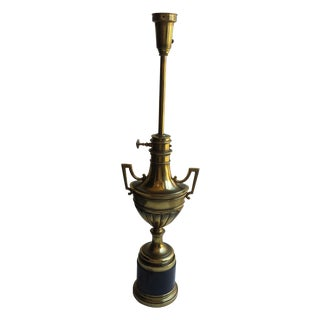 Stiffel Torchiere Brass & Hunter Green Trophy Lamp