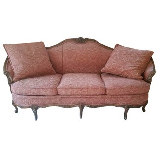 Antique Victorian Settee with Carved Frame