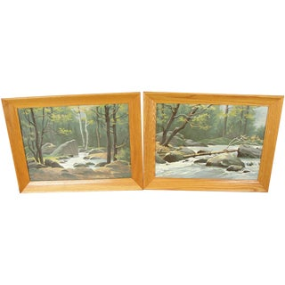 Vintage Forest River Paint by Numbers - Pair