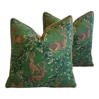 English Woodland Deer Feather/Down Pillows - Pair