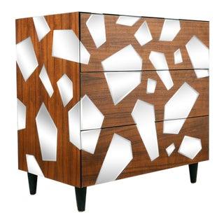Teak Mirrored Three Drawer Dresser