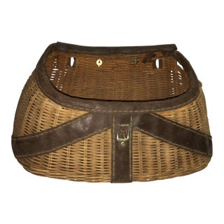 Antique Wicker & Leather Fishing Creel Basket