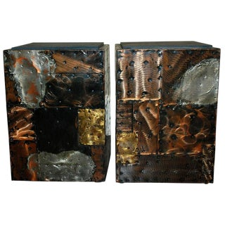 Pair of Late 1960's Paul Evan's Patchwork and Slate Side Tables