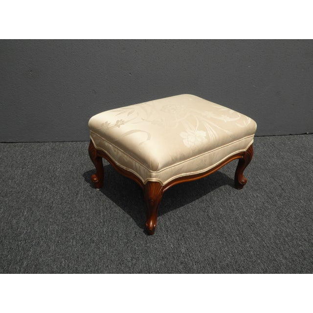 French Ottoman Design ~ Vintage french provincial style carved beige floral design