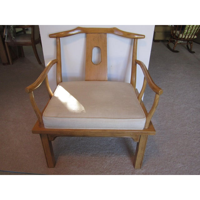 Image of Vintage Chinese Chippendale Style Chinoiserie Blonde Wood Chair