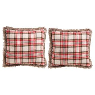 "Red Plaid & Faux Fur Trim Rustic Holiday 20"" Pillows - a Pair"