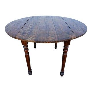 19th Century Antique French Oak Round Oval Drop Leaf Dining Table