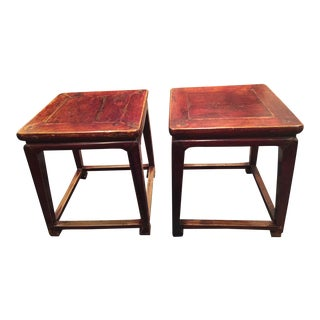 Chinese Antique Square Side Tables - A Pair