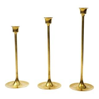 Mid-Century Brass Candlesticks - Set of 3