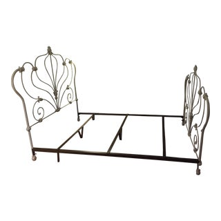Antique White Rod Iron Double or Queen Bedframe