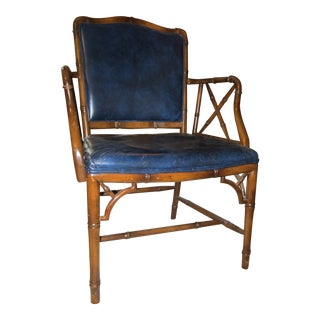 Traditional Style Navy Blue Leather Chair