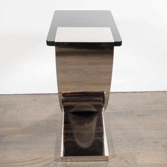 Sophisticated Modernist Polished Nickel and Black Lacquer Side or Drinks Table - Image 4 of 8
