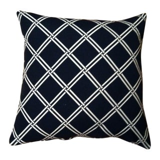 Dark Navy and White Patterned Pillows - A Pair