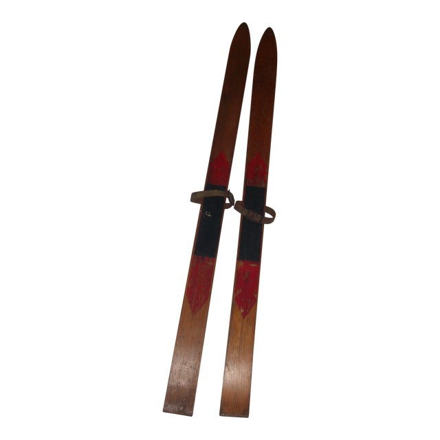 Vintage Wood Child's Skis - A Pair - Image 1 of 7