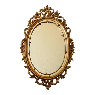 Hollywood Regency Gold Oval Mirror