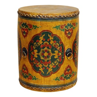 Distressed Oriental Chinese Tibetan Drum Shape Yellow Floral Coffee Side Table