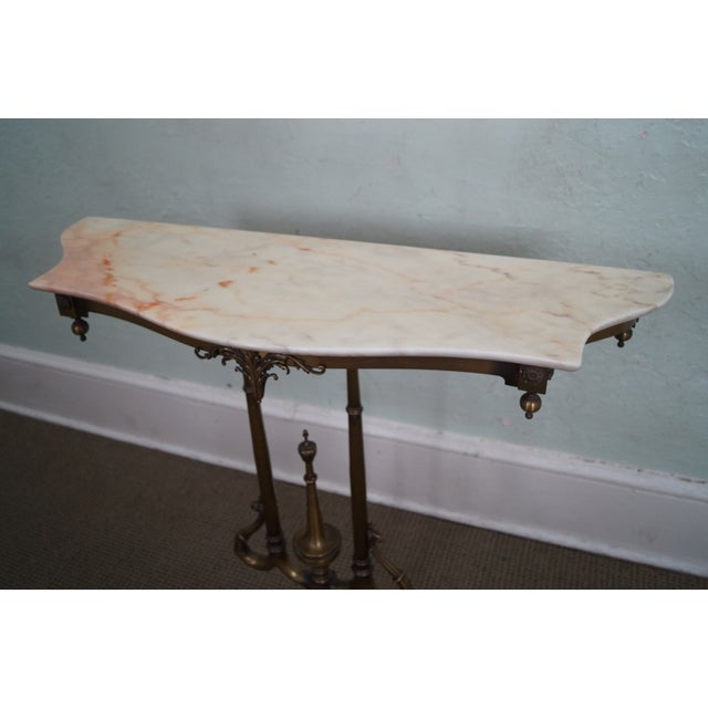 Italian Hollywood Regency Marble Top Console Table - Image 5 of 10