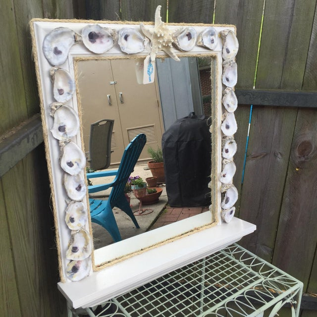 Oyster Shell Wood Framed Mirror With Shelf Chairish