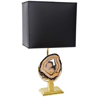 Willy Daro Style Brass Agate Disc Table Lamp