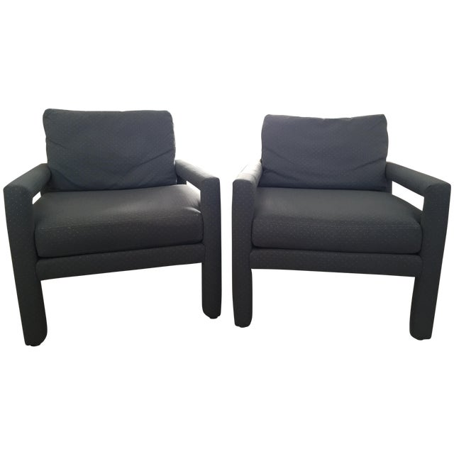 Image of Milo Baughman Style Drexel Club Chairs - A Pair