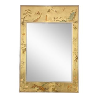 Labarge Églomisé Signed Asian Style Chinoiserie Mirror