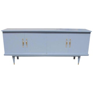Circa 1940s French Art Deco Baby Blue Sideboard / Buffet