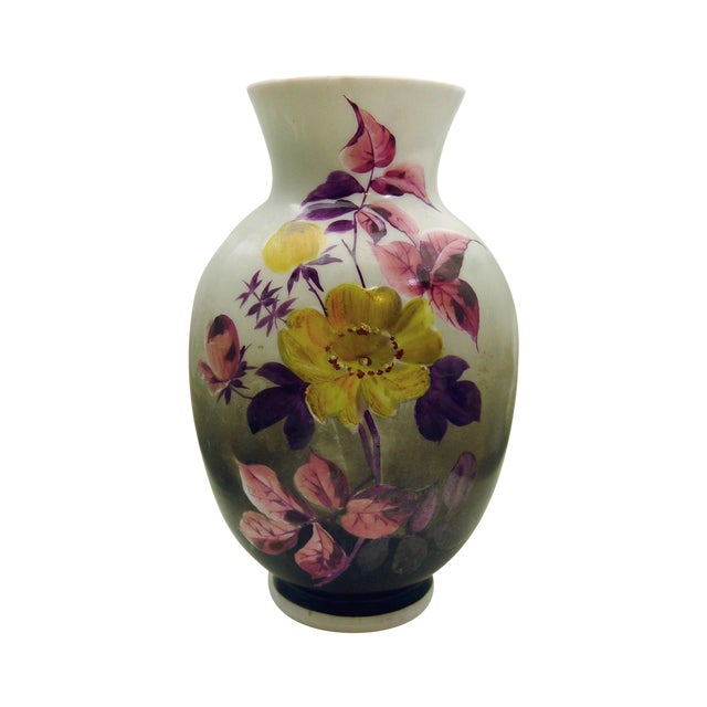 Hand Painted Bristol Glass Vase - Image 1 of 5
