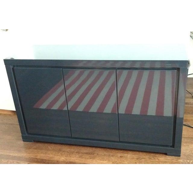 Medium Indigo Lacquered Cabinet Credenza - Image 4 of 8