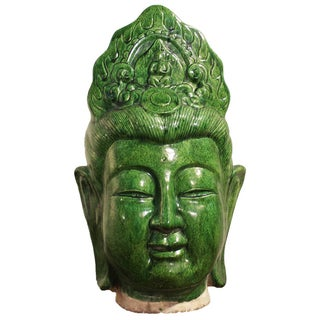 Ceramic Green Guan Yin Head